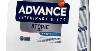 ADVANCE VETERINARY DIETS ATOPIC MINI es un alimento dietético completo para perros mini , formulado para cuidar de la piel en caso de dermatitis y pérdida de pelo excesiva