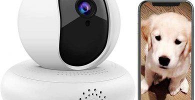 KJRJKD Cámara sin Hilos del Animal doméstico, Perro 1080P HD Monitor, cámara de Seguridad Inicio, Gato Surveilance, detección de Movimiento/visión Nocturna/Audio de Dos vías for el bebé/Perro /
