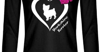 Camiseta de manga larga para mujer diseño con texto Yorkshire Terrier Yorkie en forma de corazón