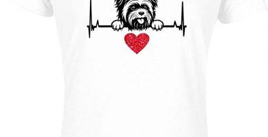 """Camiseta de manga corta para mujer, diseño con texto """"I Love My Yorkshire Terrier"""" y corazón rojo"""