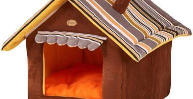 Casa Cama para Perro Yorkshire Mascota Antideslizante Plegable Suave Con Cojín Extraíble Cama Creativas