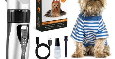 rabbitgoo Cortapelos Perros Profesional, Conjunto de Maquina Cortar Pelo Perros Recargable Inalámbrico, Máquina Bajo Ruido con 4 Peines Guía, Adecuado para Yorkshire Terrier