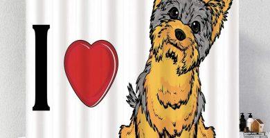 Cortina de Ducha Impermeable,Amo el Perro de Yorkshire Terrier
