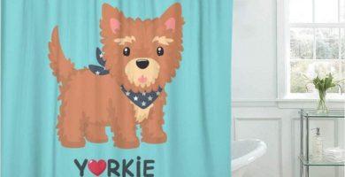 Cortinas De Baño Cortina De Baño Perro De Raza Yorkshire Terrier Cachorro En Bufanda Azul con Las Estrellas Que Llevan Alrededor De Su Cuello