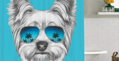 Cortinas de baño Yorkshire Terrier con gafas de sol de espejo azul