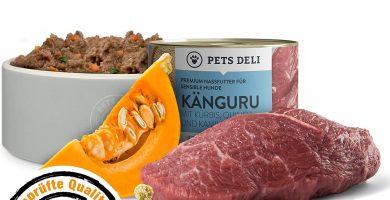 Deli Pets Comida húmeda para Perros 1,2 kg - Pack de 6   Canguro con Calabaza y Quinoa - Adecuado para Perros con estómagos sensibles   50% de Carne, sin Cereales ni aditivos
