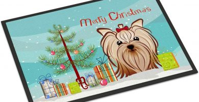 Felpudo diseño de Navidad y Yorkie Yorkshire Terrier