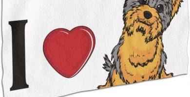 I Love Yorkshire Terrier - Toalla de baño de tamaño grande, absorbente y de secado rápido, color blanco