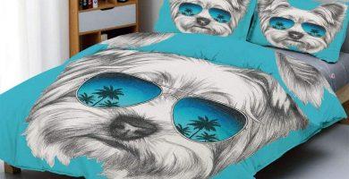 Juego de Funda de Edredón, Retrato de Yorkshire Terrier con Gafas de Sol de Espejo Fresco
