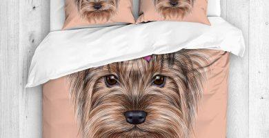Juego de Funda de Edredón,un Perro doméstico, Linda Cabeza de Yorkshire Terrier