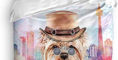 Juego de Funda nórdica de 3 Piezas, Cowboy Yorkshire Terrier