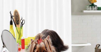Juego de cortina de baño Yorkshire Terrier con artículos de aseo Tijeras de corte de pelo