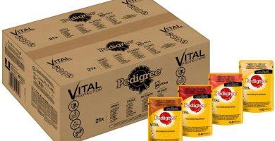 PEDIGREE Vital Protection Comida para perros con pollo y cordero en gelatina - Caja de 84 bolsitas x 100 g