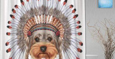 cortina de ducha Retrato de Perro Yorkshire Terrier en capó Coloreado digitalmente Retro