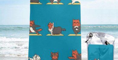 Toalla de playa - piscina Yorkshire Terrier - DOGA - yoga para perros - relájate en la playa