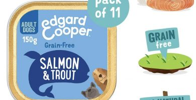 Edgard & Cooper comida humeda perros adultos sin cereales, natural con salmón y trucha. Alimentación balanceada con Omega 3 para un pelaje suave y brillante Carne 100% fresca en paté. Pack de 11x150gr