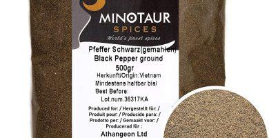 Minotaur Spices | Pimienta Negra molida | 2 X 500g (1 Kg)